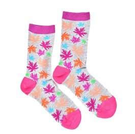 """Pink Leaves"" COOLor Socks"