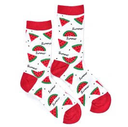 """Watermelon"" - White COOLor Socks"