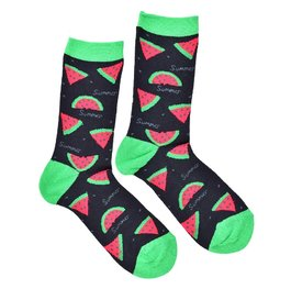 """Watermelon"" - Black COOLor Socks"