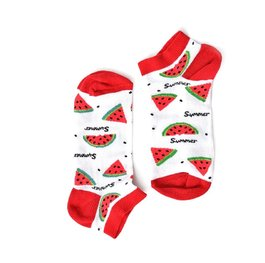 """Watermelon"" - White Short COOLor Socks"