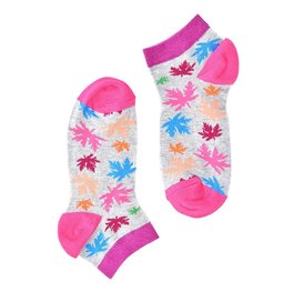 """Pink Leaves"" Short COOLor Socks"