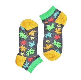 """Green Yellow Leaves"" Short COOLor Socks"