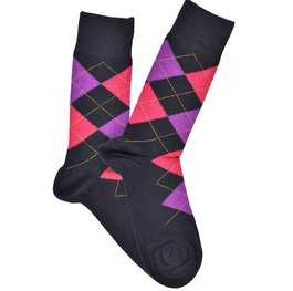 """Checkered - Black - Purple"" COOLor Socks"