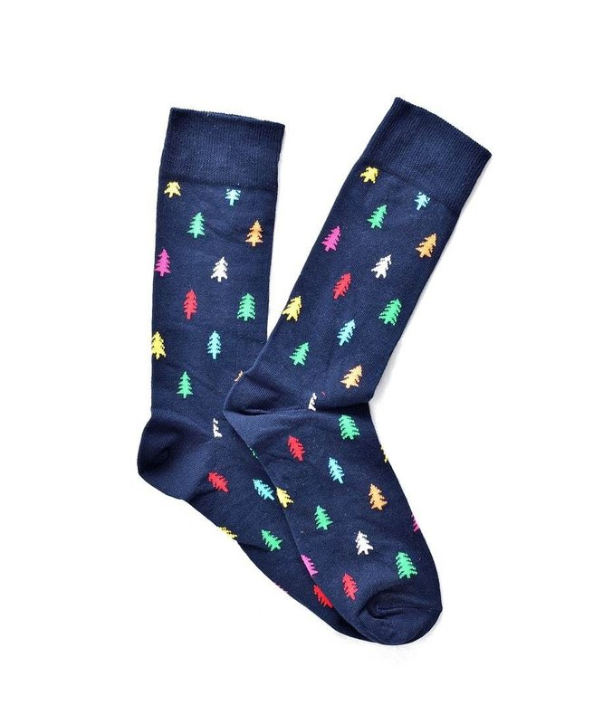 """Christmas Tree"" Dark Blue COOLor Socks"