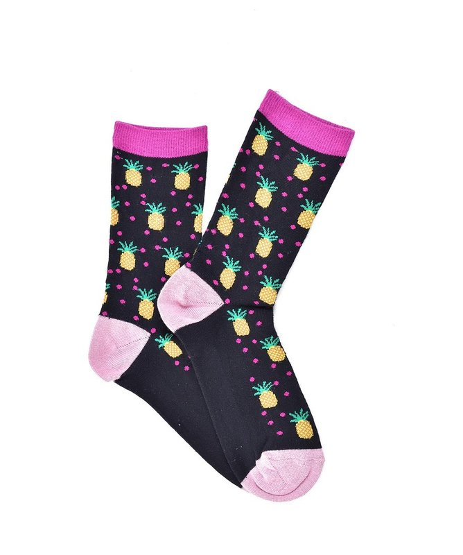 """Pineapple"" - Black COOLor Socks"