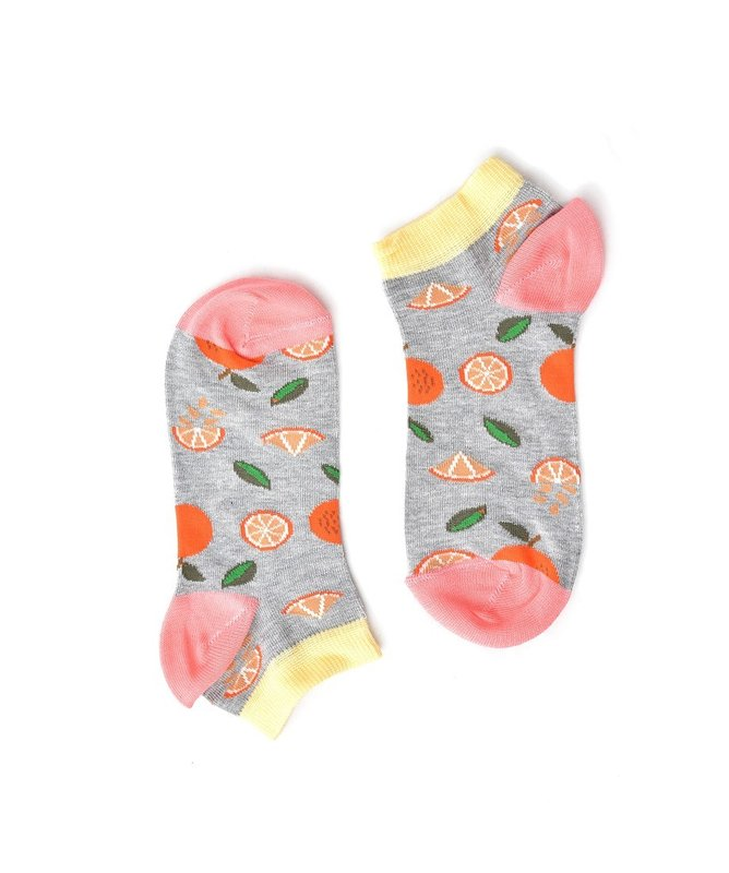 """Oranges"" Light Grey Short COOLor Socks"
