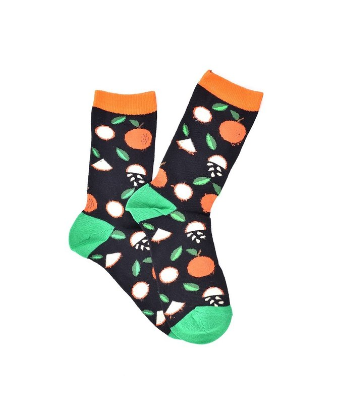"""Oranges"" Black COOLor Socks"