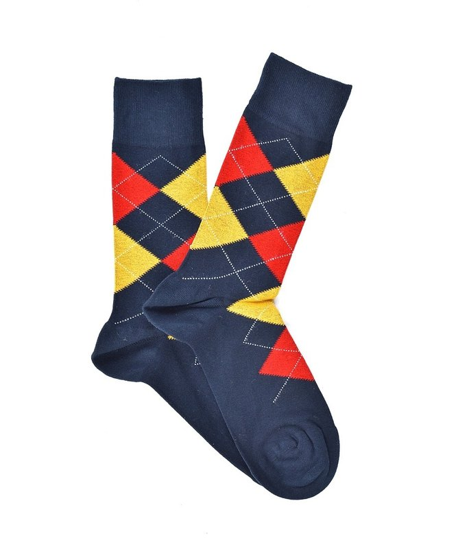"""Checkered - Blue - Yellow"" COOLor Socks"